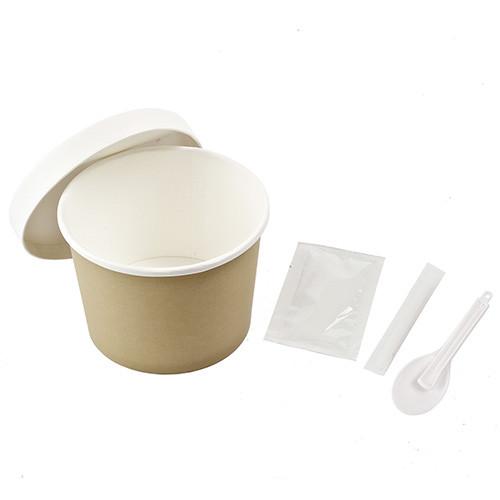 Паперовий стакан з кришкою для заварювання їжі. Пакування: Стакан