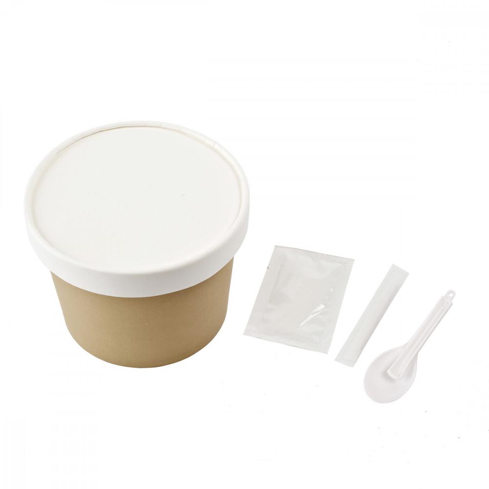 Паперовий стакан з кришкою для заварювання їжі. Пакування: Пакет